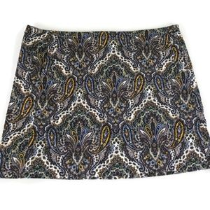 J Crew Mini Skirt Sz 12 Multi-color Paisley Print